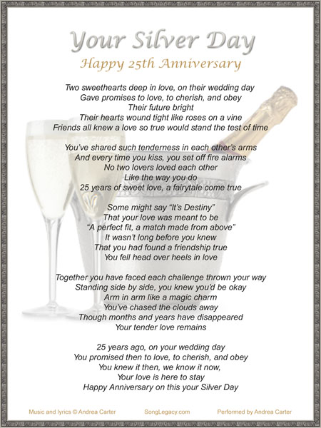 25th Wedding Anniversary Gift Ideas For Sister : lyric sheet for original 25th anniversary song cd cover for