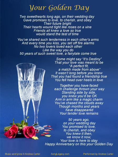 Lyric Sheet for fiftieth Wedding Anniversary Gift Song